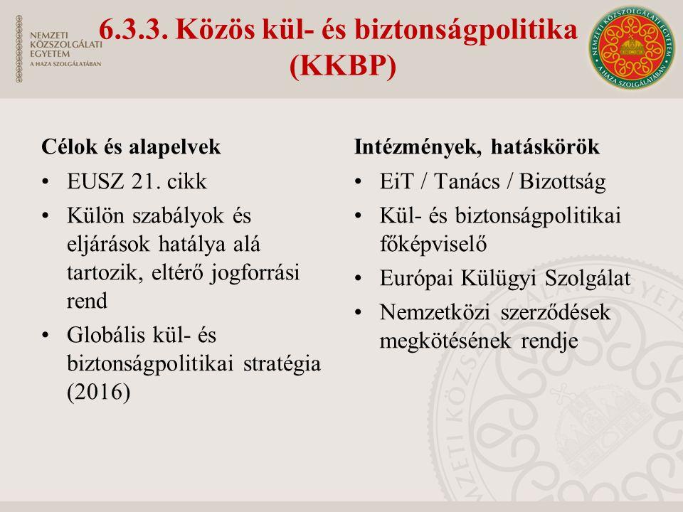 6.3.3. Közös kül- és biztonságpolitika (KKBP) Célok és alapelvek EUSZ 21.