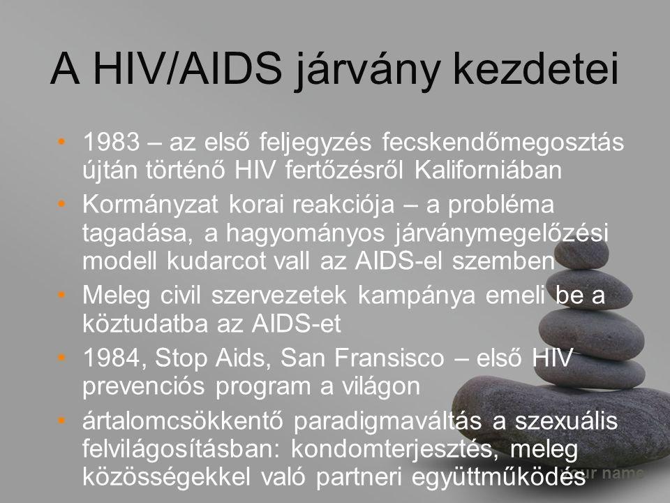 your name A HIV/AIDS járvány kezdetei 1983 – az első feljegyzés fecskendőmegosztás újtán történő HIV fertőzésről Kaliforniában Kormányzat korai reakciója – a probléma tagadása, a hagyományos járványmegelőzési modell kudarcot vall az AIDS-el szemben Meleg civil szervezetek kampánya emeli be a köztudatba az AIDS-et 1984, Stop Aids, San Fransisco – első HIV prevenciós program a világon ártalomcsökkentő paradigmaváltás a szexuális felvilágosításban: kondomterjesztés, meleg közösségekkel való partneri együttműködés