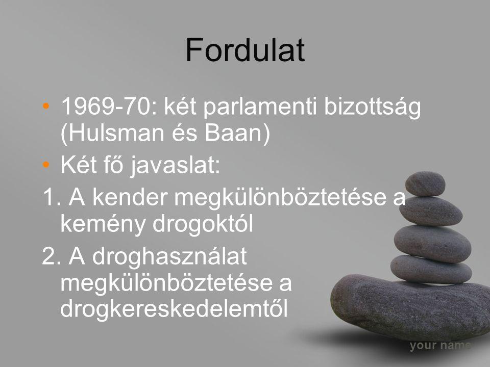 your name Fordulat 1969-70: két parlamenti bizottság (Hulsman és Baan) Két fő javaslat: 1.