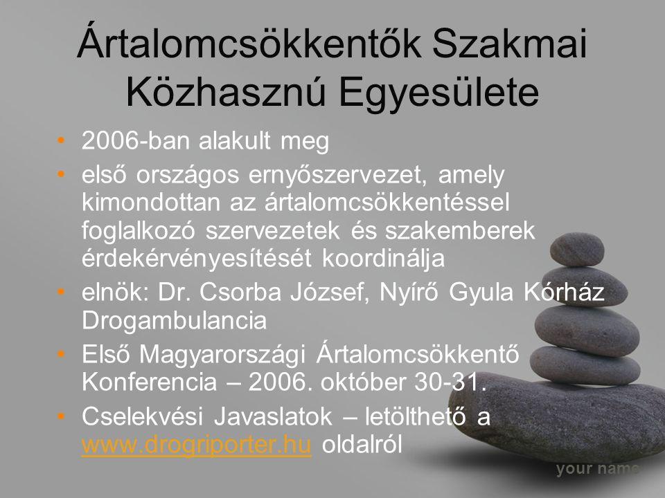 your name Ártalomcsökkentők Szakmai Közhasznú Egyesülete 2006-ban alakult meg első országos ernyőszervezet, amely kimondottan az ártalomcsökkentéssel foglalkozó szervezetek és szakemberek érdekérvényesítését koordinálja elnök: Dr.