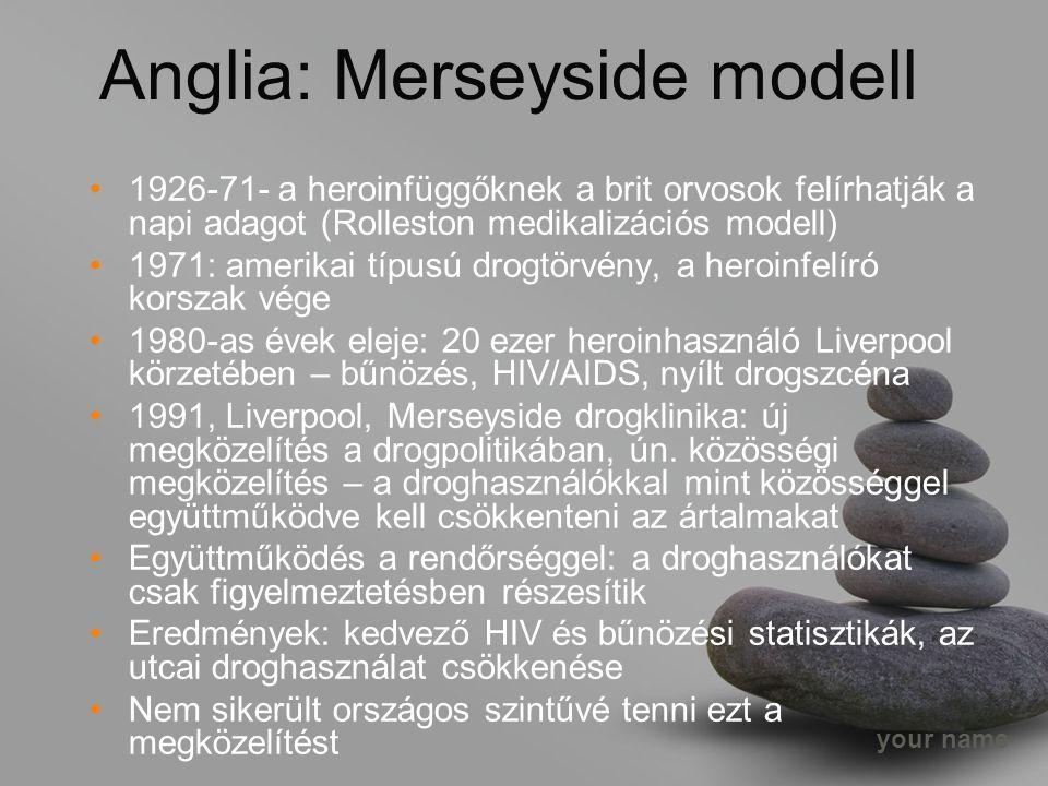 your name Anglia: Merseyside modell 1926-71- a heroinfüggőknek a brit orvosok felírhatják a napi adagot (Rolleston medikalizációs modell) 1971: amerikai típusú drogtörvény, a heroinfelíró korszak vége 1980-as évek eleje: 20 ezer heroinhasználó Liverpool körzetében – bűnözés, HIV/AIDS, nyílt drogszcéna 1991, Liverpool, Merseyside drogklinika: új megközelítés a drogpolitikában, ún.