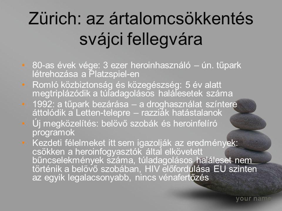 your name Zürich: az ártalomcsökkentés svájci fellegvára 80-as évek vége: 3 ezer heroinhasználó – ún.