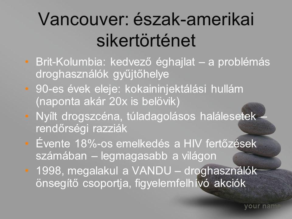 Vancouver: észak-amerikai sikertörténet Brit-Kolumbia: kedvező éghajlat – a problémás droghasználók gyűjtőhelye 90-es évek eleje: kokaininjektálási hullám (naponta akár 20x is belövik) Nyílt drogszcéna, túladagolásos halálesetek – rendőrségi razziák Évente 18%-os emelkedés a HIV fertőzések számában – legmagasabb a világon 1998, megalakul a VANDU – droghasználók önsegítő csoportja, figyelemfelhívó akciók