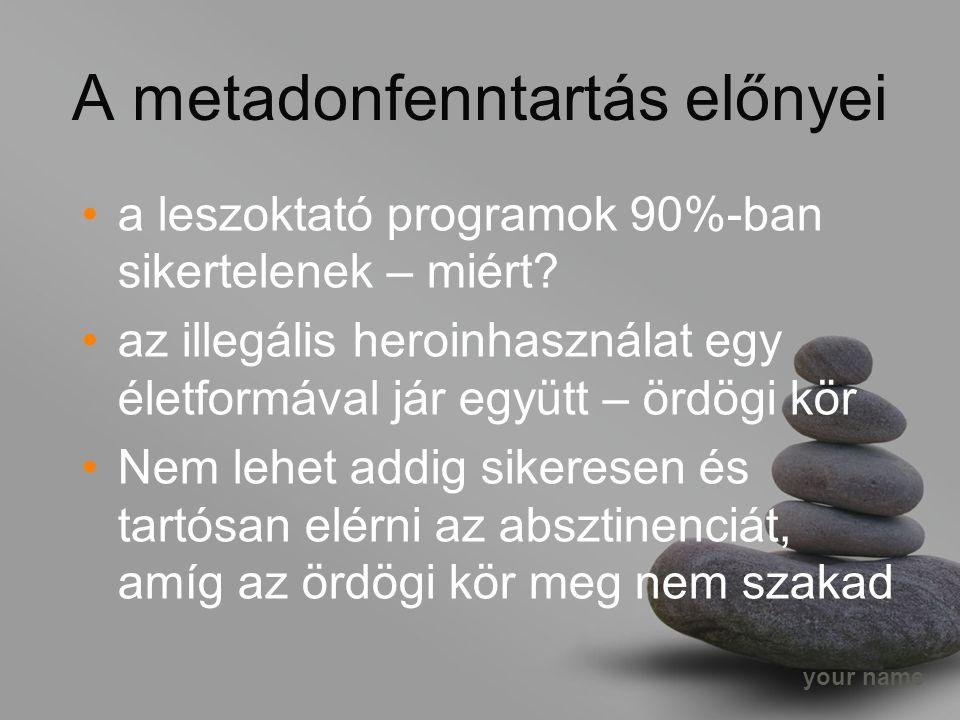 your name A metadonfenntartás előnyei a leszoktató programok 90%-ban sikertelenek – miért.