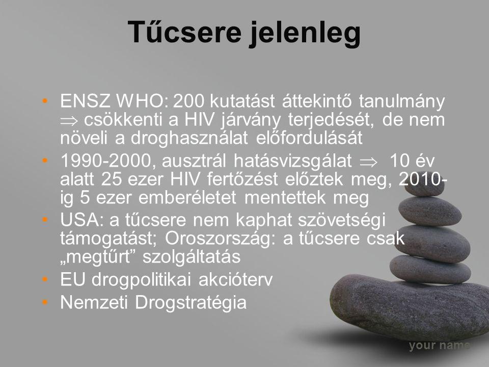 """your name Tűcsere jelenleg ENSZ WHO: 200 kutatást áttekintő tanulmány  csökkenti a HIV járvány terjedését, de nem növeli a droghasználat előfordulását 1990-2000, ausztrál hatásvizsgálat  10 év alatt 25 ezer HIV fertőzést előztek meg, 2010- ig 5 ezer emberéletet mentettek meg USA: a tűcsere nem kaphat szövetségi támogatást; Oroszország: a tűcsere csak """"megtűrt szolgáltatás EU drogpolitikai akcióterv Nemzeti Drogstratégia"""