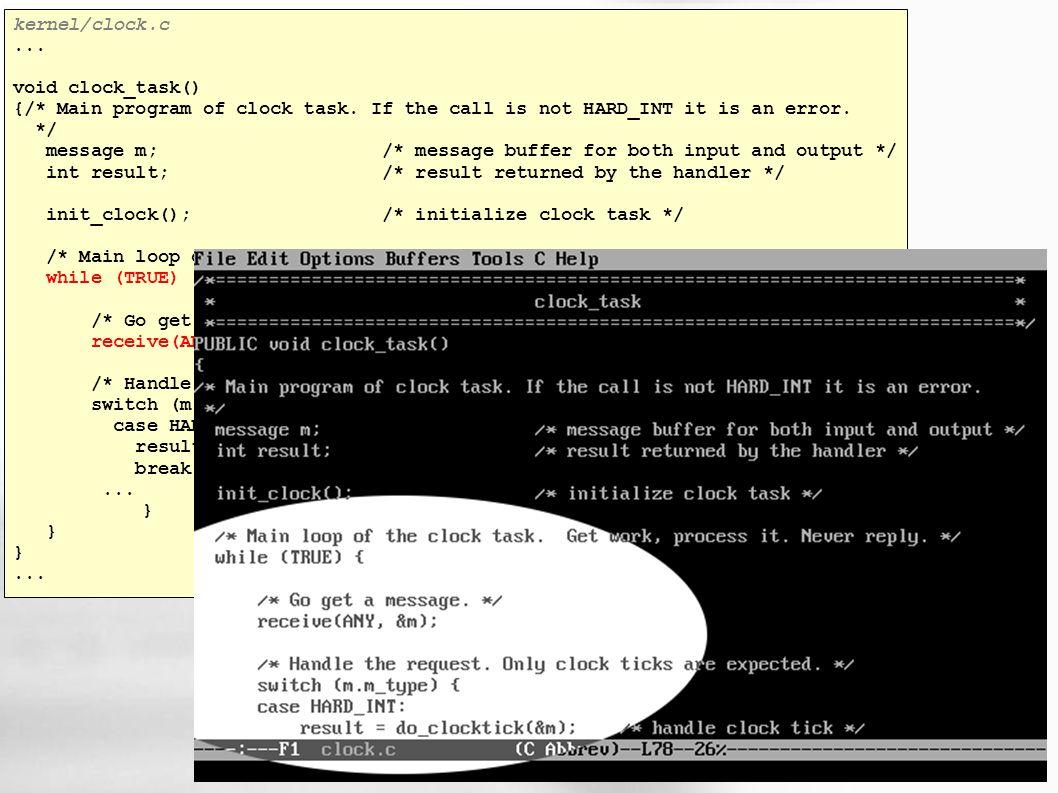 kernel/clock.c... void clock_task() {/* Main program of clock task.