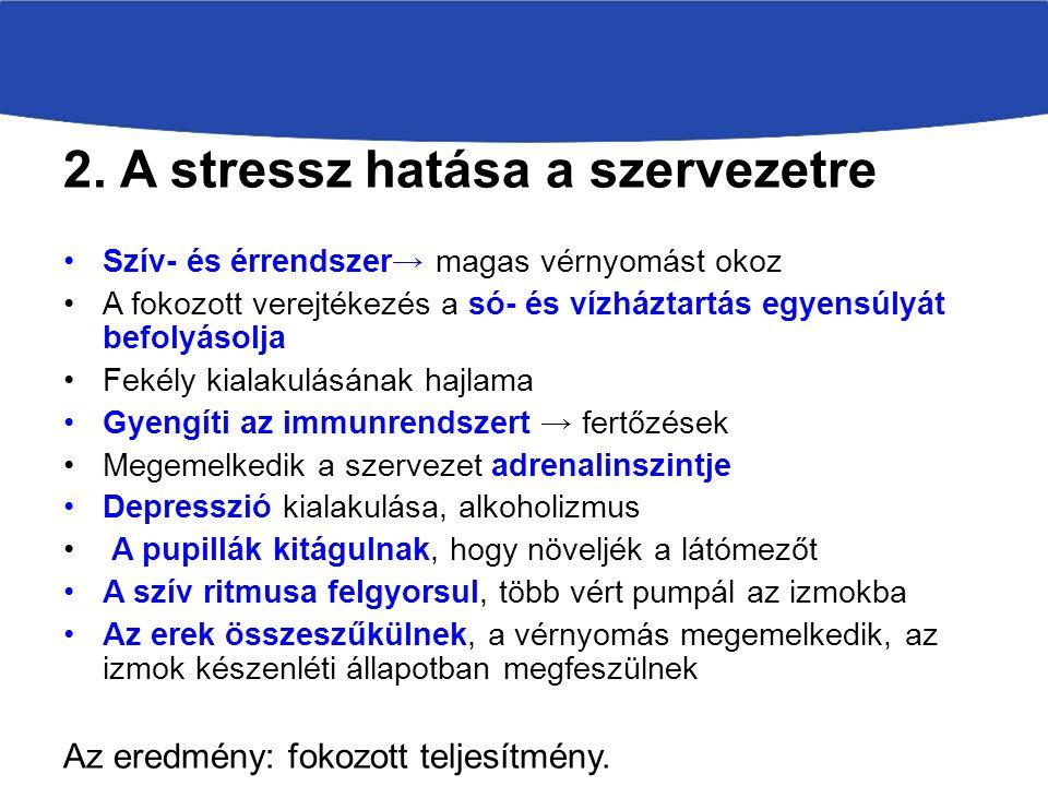 2. A stressz hatása a szervezetre Szív- és érrendszer → magas vérnyomást okoz A fokozott verejtékezés a só- és vízháztartás egyensúlyát befolyásolja F