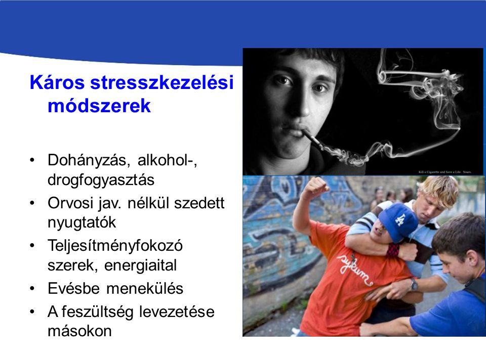 Káros stresszkezelési módszerek Dohányzás, alkohol-, drogfogyasztás Orvosi jav.