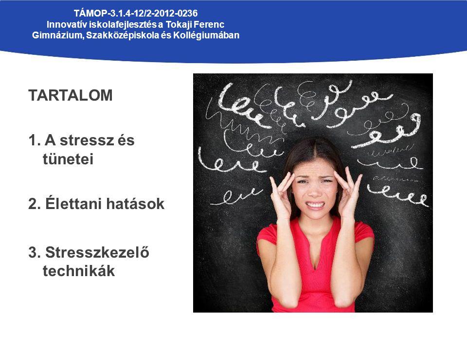 TARTALOM 1. A stressz és tünetei 2. Élettani hatások 3.