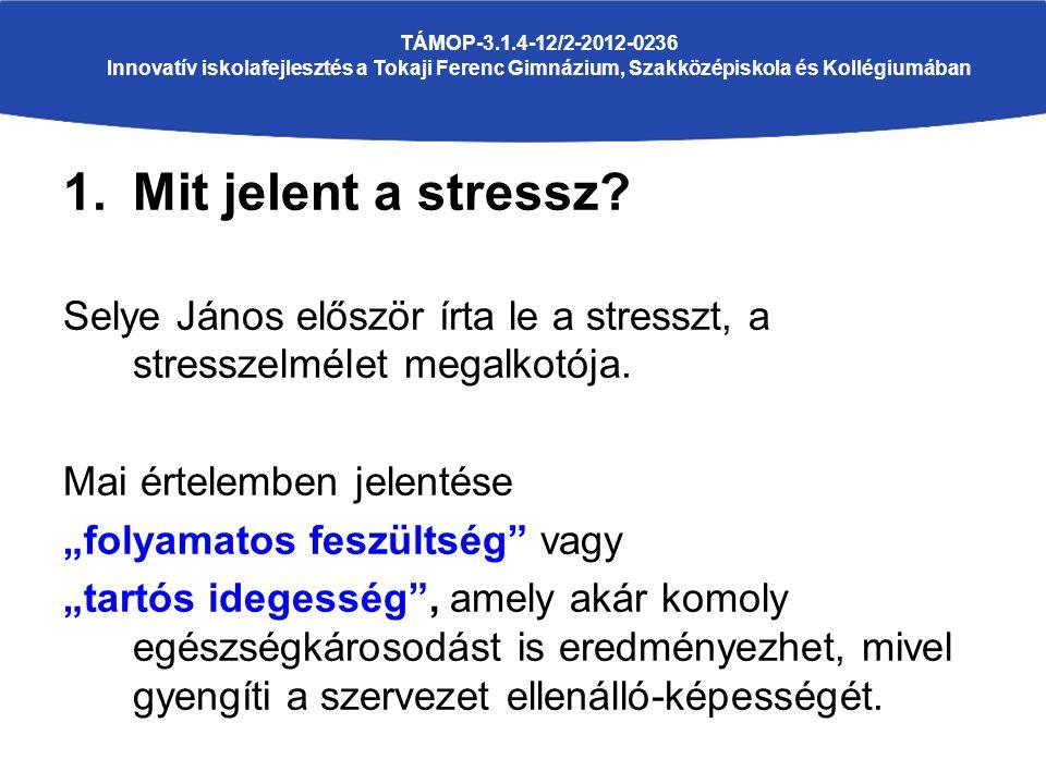 1.Mit jelent a stressz. Selye János először írta le a stresszt, a stresszelmélet megalkotója.