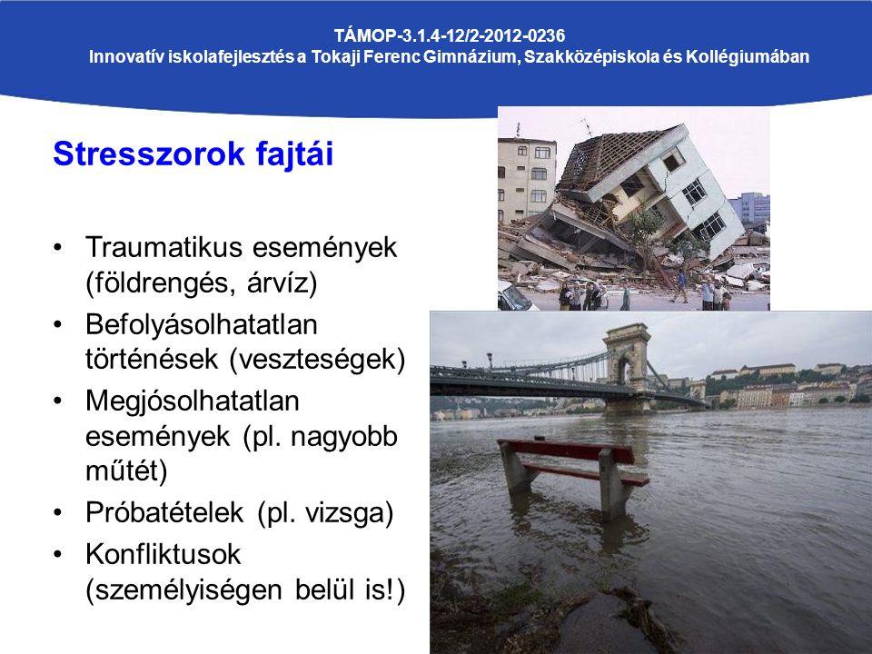 Stresszorok fajtái Traumatikus események (földrengés, árvíz) Befolyásolhatatlan történések (veszteségek) Megjósolhatatlan események (pl.