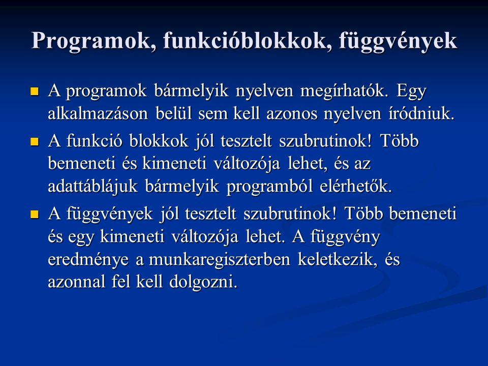 Programok, funkcióblokkok, függvények A programok bármelyik nyelven megírhatók.