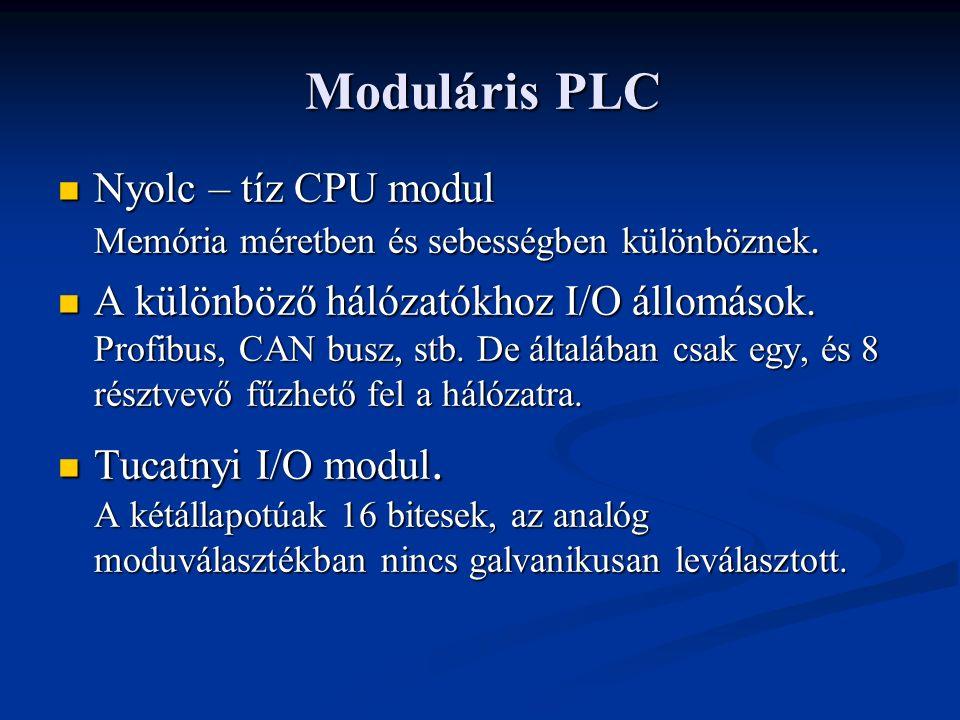 Moduláris PLC Nyolc – tíz CPU modul Memória méretben és sebességben különböznek.