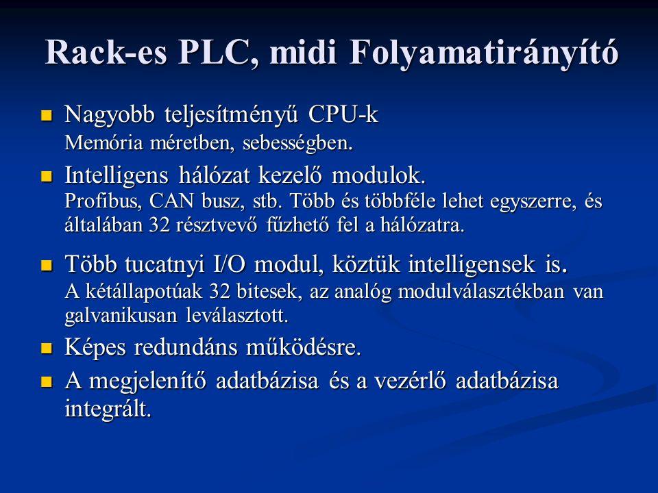 Rack-es PLC, midi Folyamatirányító Nagyobb teljesítményű CPU-k Memória méretben, sebességben.