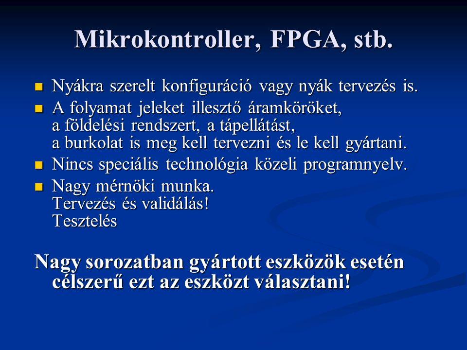 Mikrokontroller, FPGA, stb. Nyákra szerelt konfiguráció vagy nyák tervezés is.