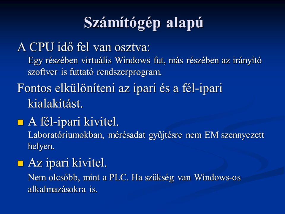 Számítógép alapú A CPU idő fel van osztva: Egy részében virtuális Windows fut, más részében az irányító szoftver is futtató rendszerprogram.
