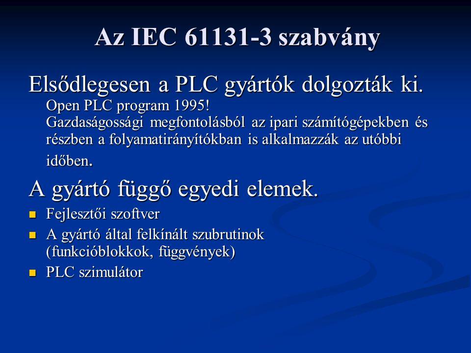 Az IEC 61131-3 szabvány Elsődlegesen a PLC gyártók dolgozták ki.