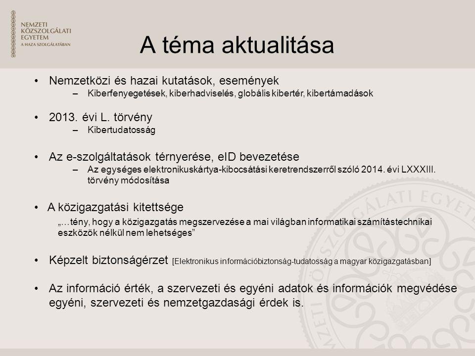 A téma aktualitása Nemzetközi és hazai kutatások, események –Kiberfenyegetések, kiberhadviselés, globális kibertér, kibertámadások 2013.