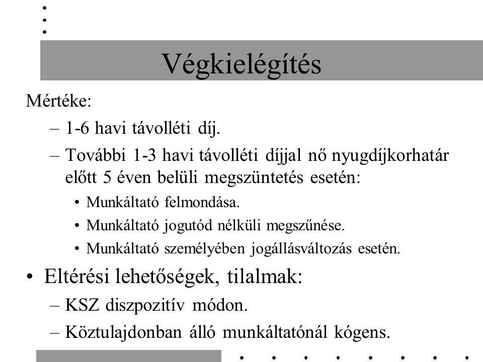 Végkielégítés Mértéke: –1-6 havi távolléti díj.