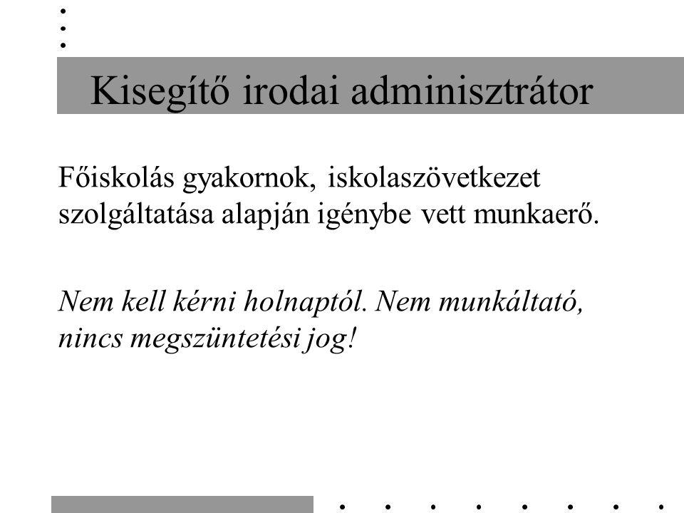 Kisegítő irodai adminisztrátor Főiskolás gyakornok, iskolaszövetkezet szolgáltatása alapján igénybe vett munkaerő.