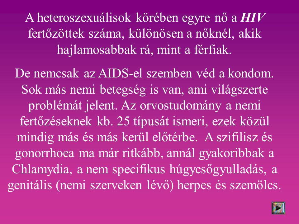 A heteroszexuálisok körében egyre nő a HIV fertőzöttek száma, különösen a nőknél, akik hajlamosabbak rá, mint a férfiak.