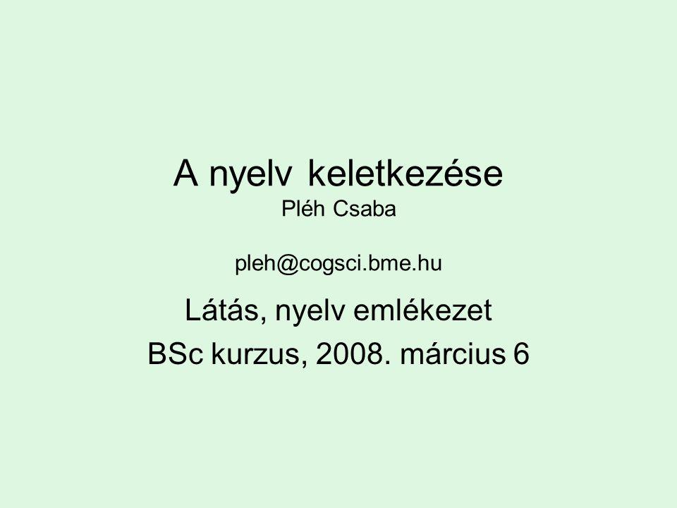 A nyelv keletkezése Pléh Csaba pleh@cogsci.bme.hu Látás, nyelv emlékezet BSc kurzus, 2008.