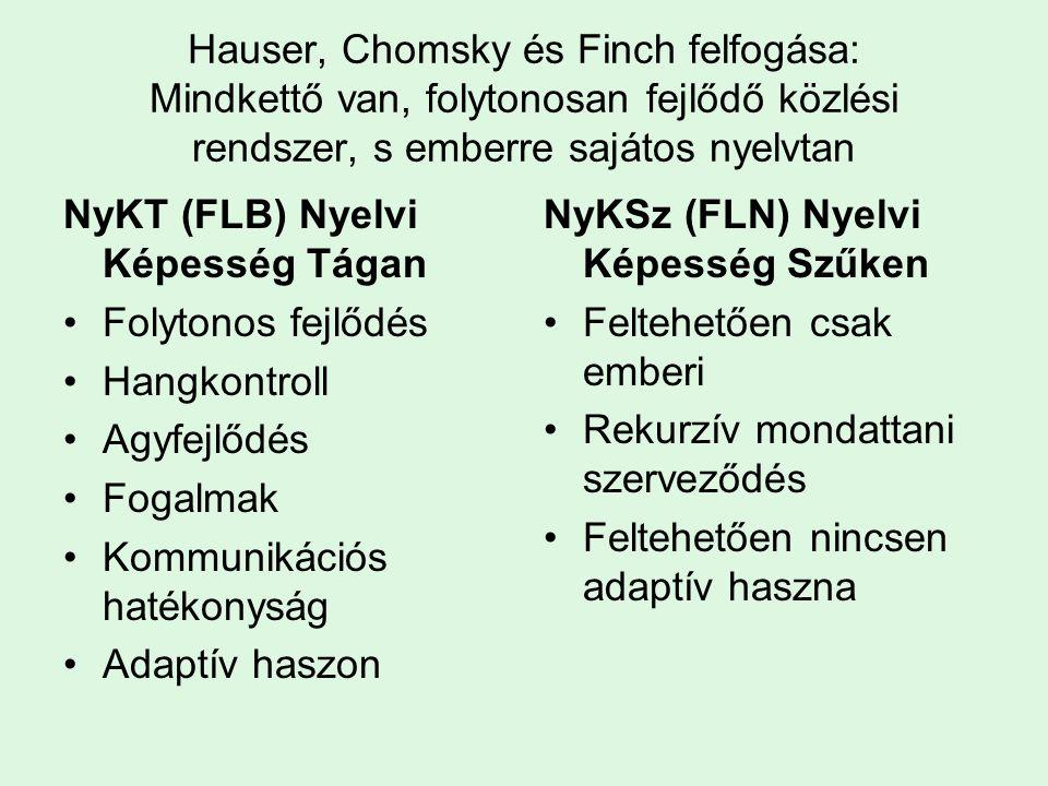 Hauser, Chomsky és Finch felfogása: Mindkettő van, folytonosan fejlődő közlési rendszer, s emberre sajátos nyelvtan NyKT (FLB) Nyelvi Képesség Tágan Folytonos fejlődés Hangkontroll Agyfejlődés Fogalmak Kommunikációs hatékonyság Adaptív haszon NyKSz (FLN) Nyelvi Képesség Szűken Feltehetően csak emberi Rekurzív mondattani szerveződés Feltehetően nincsen adaptív haszna