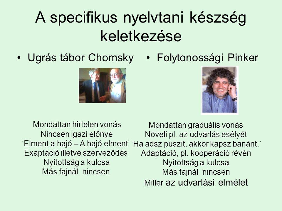 A specifikus nyelvtani készség keletkezése Ugrás tábor ChomskyFolytonossági Pinker Mondattan hirtelen vonás Nincsen igazi előnye 'Elment a hajó – A hajó elment' Exaptáció illetve szerveződés Nyitottság a kulcsa Más fajnál nincsen Mondattan graduális vonás Növeli pl.