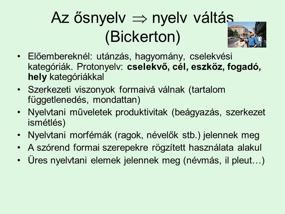 Az ősnyelv  nyelv váltás (Bickerton) Előembereknél: utánzás, hagyomány, cselekvési kategóriák.