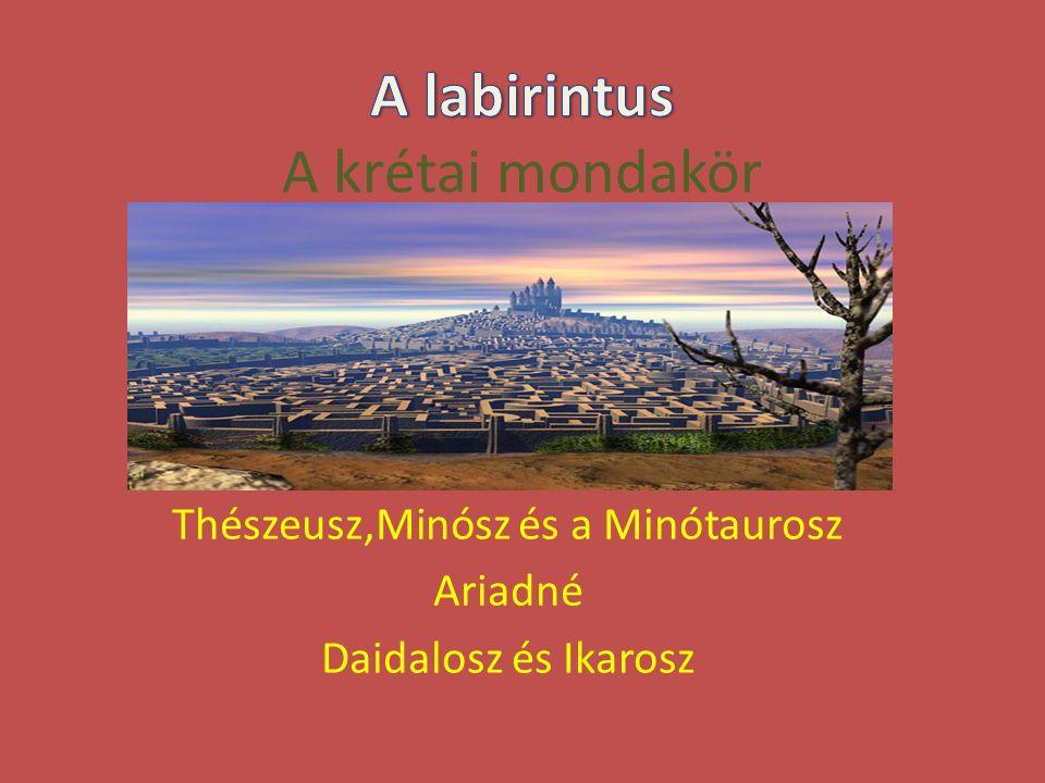 Thészeusz,Minósz és a Minótaurosz Ariadné Daidalosz és Ikarosz