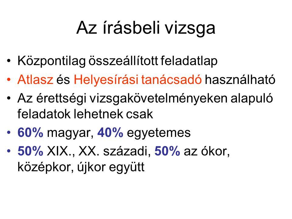 Az írásbeli vizsga Központilag összeállított feladatlap Atlasz és Helyesírási tanácsadó használható Az érettségi vizsgakövetelményeken alapuló feladatok lehetnek csak 60% magyar, 40% egyetemes 50% XIX., XX.