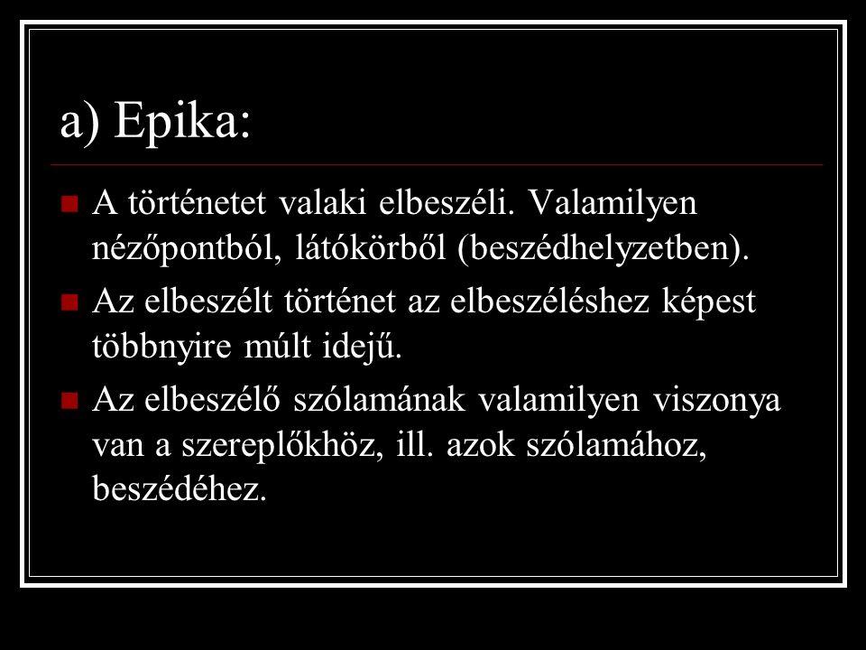 a) Epika: A történetet valaki elbeszéli. Valamilyen nézőpontból, látókörből (beszédhelyzetben).
