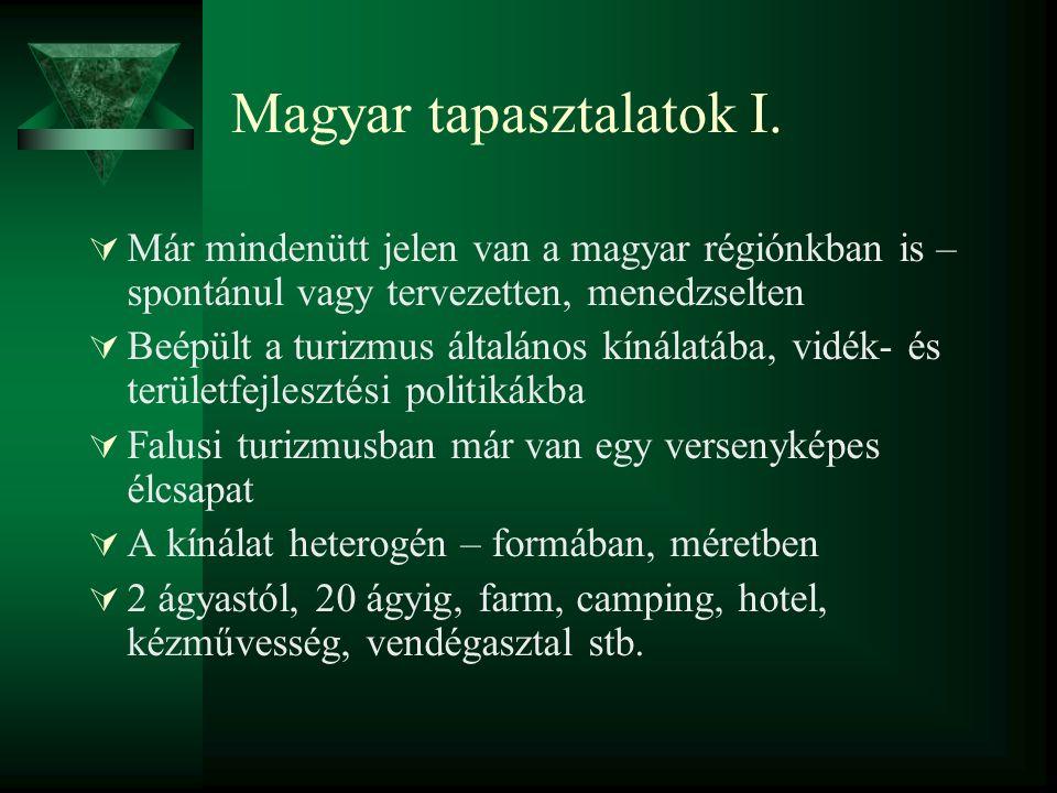 Magyar tapasztalatok I.  Már mindenütt jelen van a magyar régiónkban is – spontánul vagy tervezetten, menedzselten  Beépült a turizmus általános kín