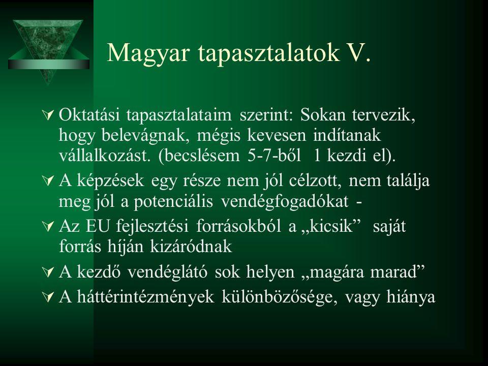 Magyar tapasztalatok V.  Oktatási tapasztalataim szerint: Sokan tervezik, hogy belevágnak, mégis kevesen indítanak vállalkozást. (becslésem 5-7-ből 1