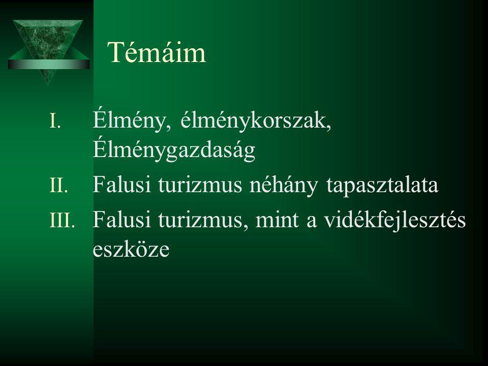 Témáim I. Élmény, élménykorszak, Élménygazdaság II.