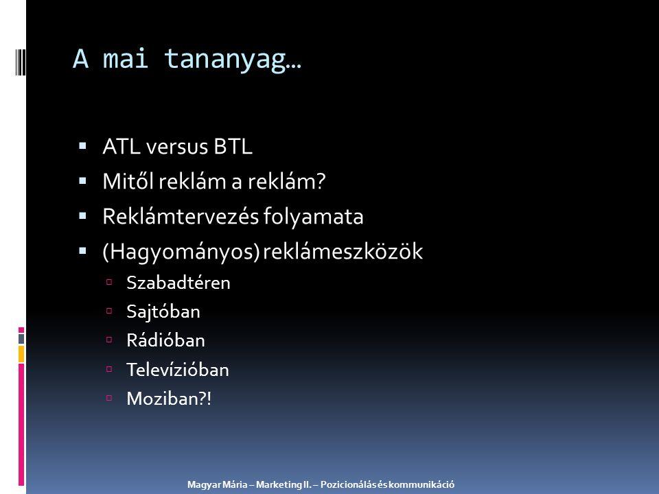  ATL versus BTL  Mitől reklám a reklám?  Reklámtervezés folyamata  (Hagyományos) reklámeszközök  Szabadtéren  Sajtóban  Rádióban  Televízióban