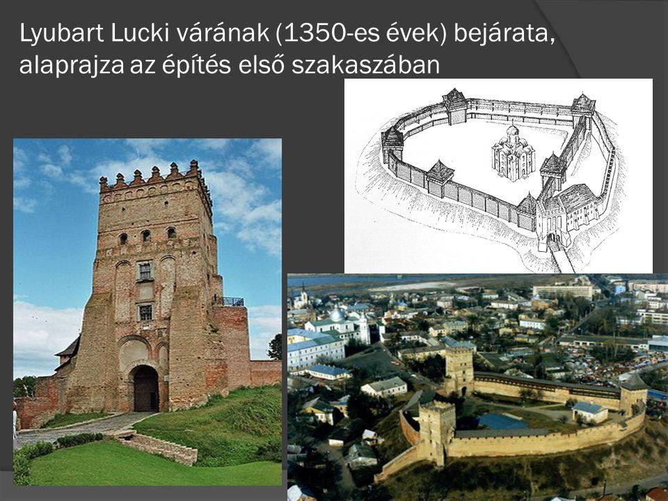 Lyubart Lucki várának (1350-es évek) bejárata, alaprajza az építés első szakaszában