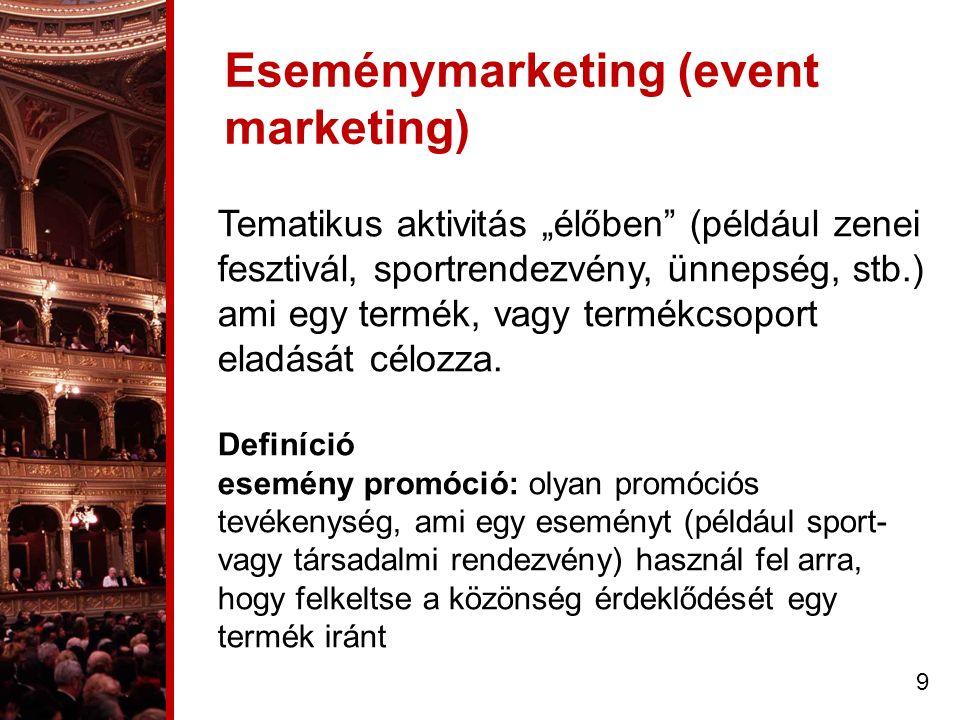 """Eseménymarketing (event marketing) Tematikus aktivitás """"élőben (például zenei fesztivál, sportrendezvény, ünnepség, stb.) ami egy termék, vagy termékcsoport eladását célozza."""