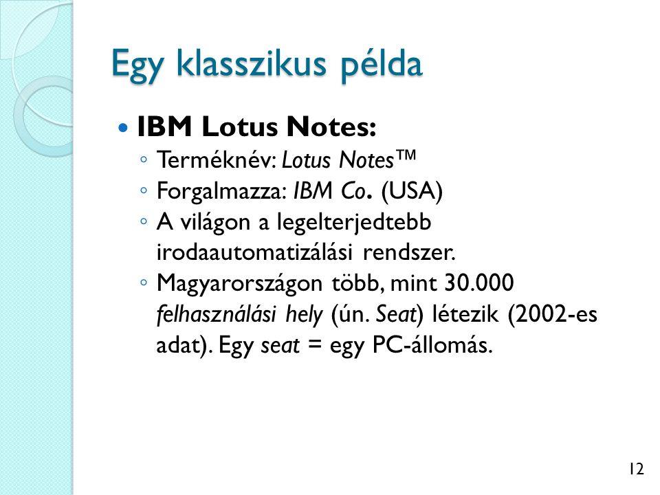 12 Egy klasszikus példa IBM Lotus Notes: ◦ Terméknév: Lotus Notes™ ◦ Forgalmazza: IBM Co. (USA) ◦ A világon a legelterjedtebb irodaautomatizálási rend