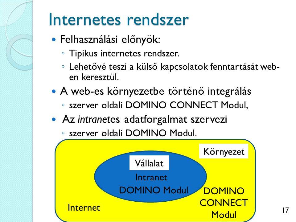 17 Internetes rendszer Felhasználási előnyök: ◦ Tipikus internetes rendszer. ◦ Lehetővé teszi a külső kapcsolatok fenntartását web- en keresztül. A we