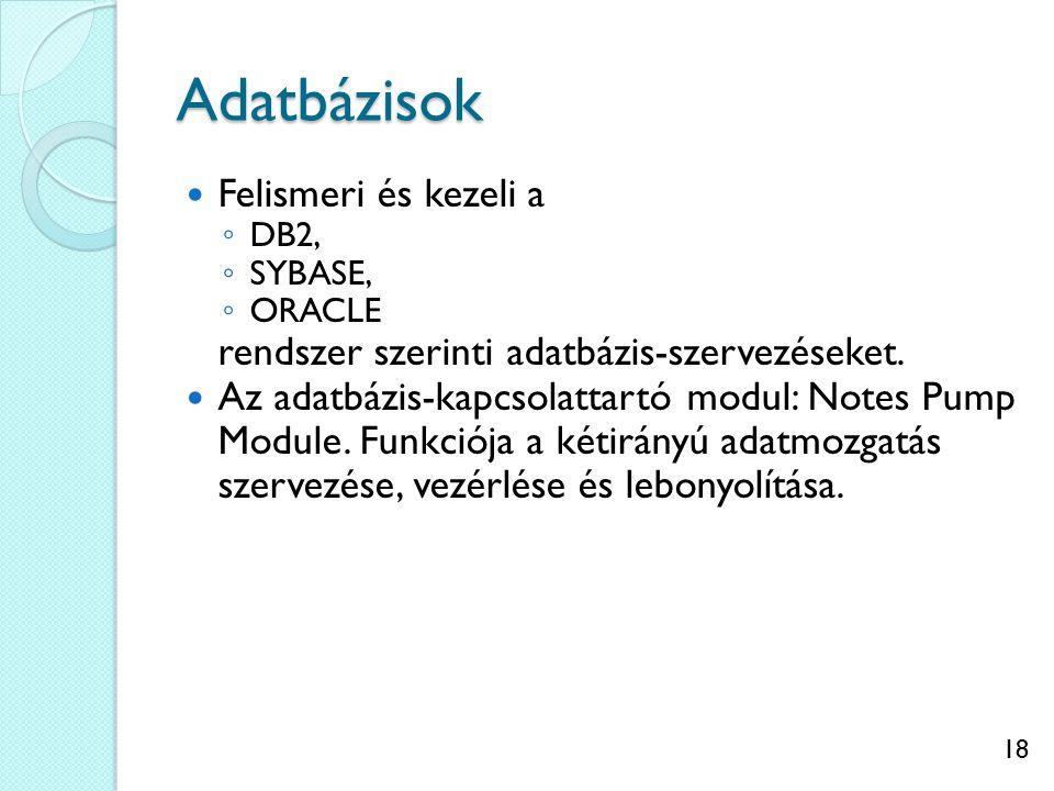 18 Adatbázisok Felismeri és kezeli a ◦ DB2, ◦ SYBASE, ◦ ORACLE rendszer szerinti adatbázis-szervezéseket. Az adatbázis-kapcsolattartó modul: Notes Pum