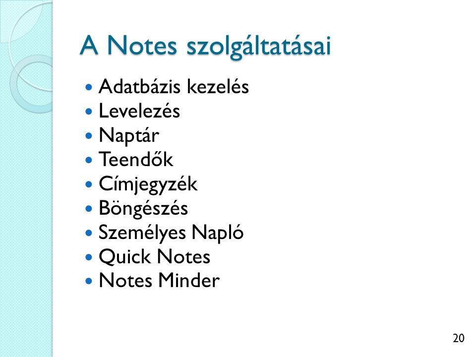 20 A Notes szolgáltatásai Adatbázis kezelés Levelezés Naptár Teendők Címjegyzék Böngészés Személyes Napló Quick Notes Notes Minder