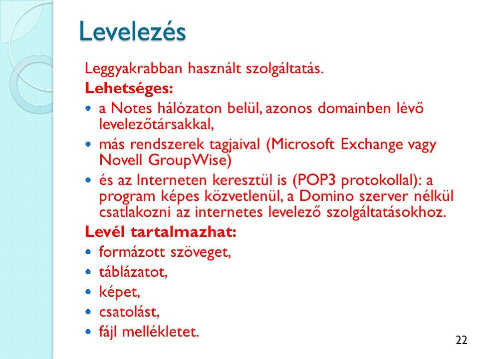 22Levelezés Leggyakrabban használt szolgáltatás. Lehetséges: a Notes hálózaton belül, azonos domainben lévő levelezőtársakkal, más rendszerek tagjaiva