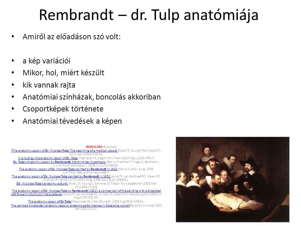 Rembrandt – dr. Tulp anatómiája Amiről az előadáson szó volt: a kép variációi Mikor, hol, miért készült kik vannak rajta Anatómiai színházak, boncolás