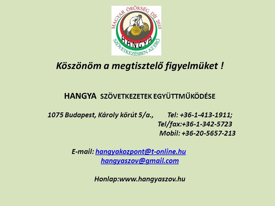 Köszönöm a megtisztelő figyelmüket ! HANGYA SZÖVETKEZETEK EGYÜTTMŰKÖDÉSE 1075 Budapest, Károly körút 5/a., Tel: +36-1-413-1911; Tel/fax:+36-1-342-5723