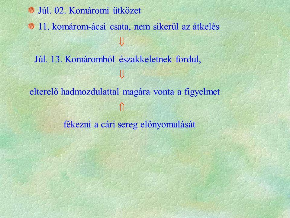  Júl. 02. Komáromi ütközet  11. komárom-ácsi csata, nem sikerül az átkelés  Júl.