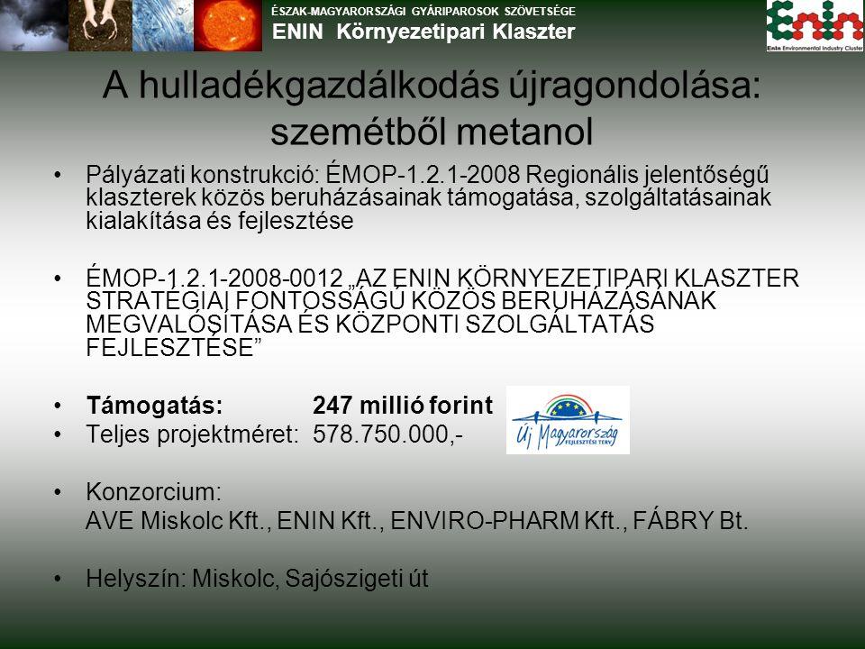 """ÉSZAK-MAGYARORSZÁGI GYÁRIPAROSOK SZÖVETSÉGE ENIN Környezetipari Klaszter Pályázati konstrukció: ÉMOP-1.2.1-2008 Regionális jelentőségű klaszterek közös beruházásainak támogatása, szolgáltatásainak kialakítása és fejlesztése ÉMOP-1.2.1-2008-0012 """"AZ ENIN KÖRNYEZETIPARI KLASZTER STRATÉGIAI FONTOSSÁGÚ KÖZÖS BERUHÁZÁSÁNAK MEGVALÓSÍTÁSA ÉS KÖZPONTI SZOLGÁLTATÁS FEJLESZTÉSE Támogatás:247 millió forint Teljes projektméret:578.750.000,- Konzorcium: AVE Miskolc Kft., ENIN Kft., ENVIRO-PHARM Kft., FÁBRY Bt."""