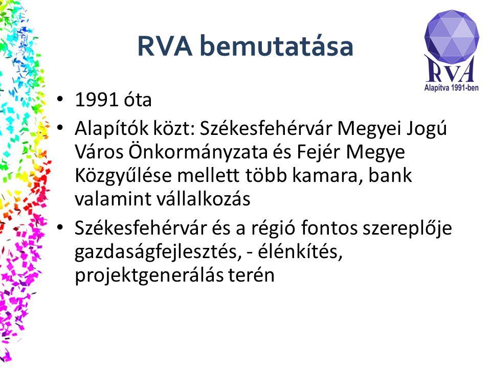 RVA bemutatása 1991 óta Alapítók közt: Székesfehérvár Megyei Jogú Város Önkormányzata és Fejér Megye Közgyűlése mellett több kamara, bank valamint vállalkozás Székesfehérvár és a régió fontos szereplője gazdaságfejlesztés, - élénkítés, projektgenerálás terén