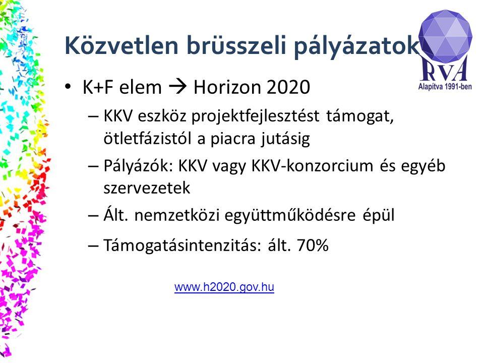 Közvetlen brüsszeli pályázatok K+F elem  Horizon 2020 – KKV eszköz projektfejlesztést támogat, ötletfázistól a piacra jutásig – Pályázók: KKV vagy KKV-konzorcium és egyéb szervezetek – Ált.