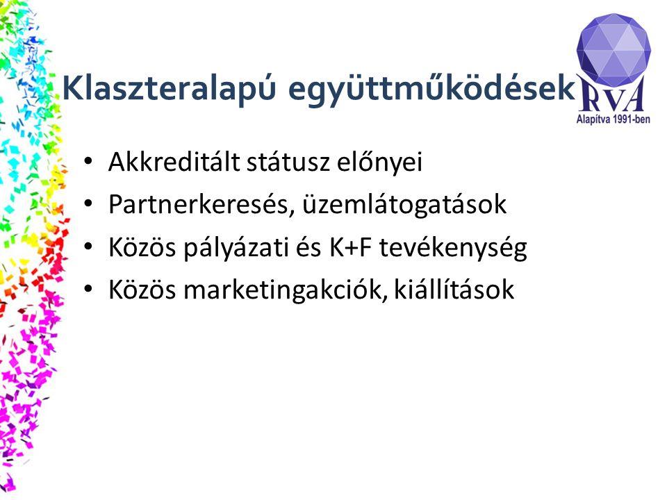 Klaszteralapú együttműködések Akkreditált státusz előnyei Partnerkeresés, üzemlátogatások Közös pályázati és K+F tevékenység Közös marketingakciók, kiállítások